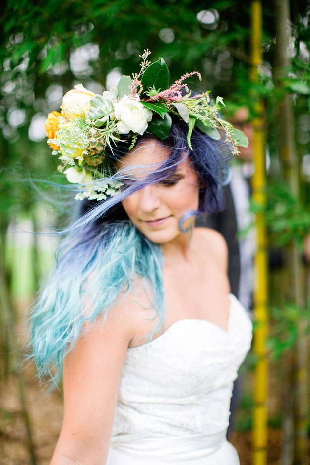 bride with colorful hair