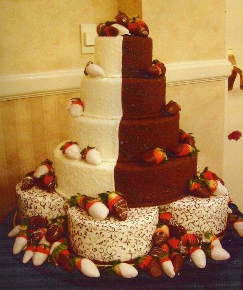 Half Bride Half Groom Wedding Cake