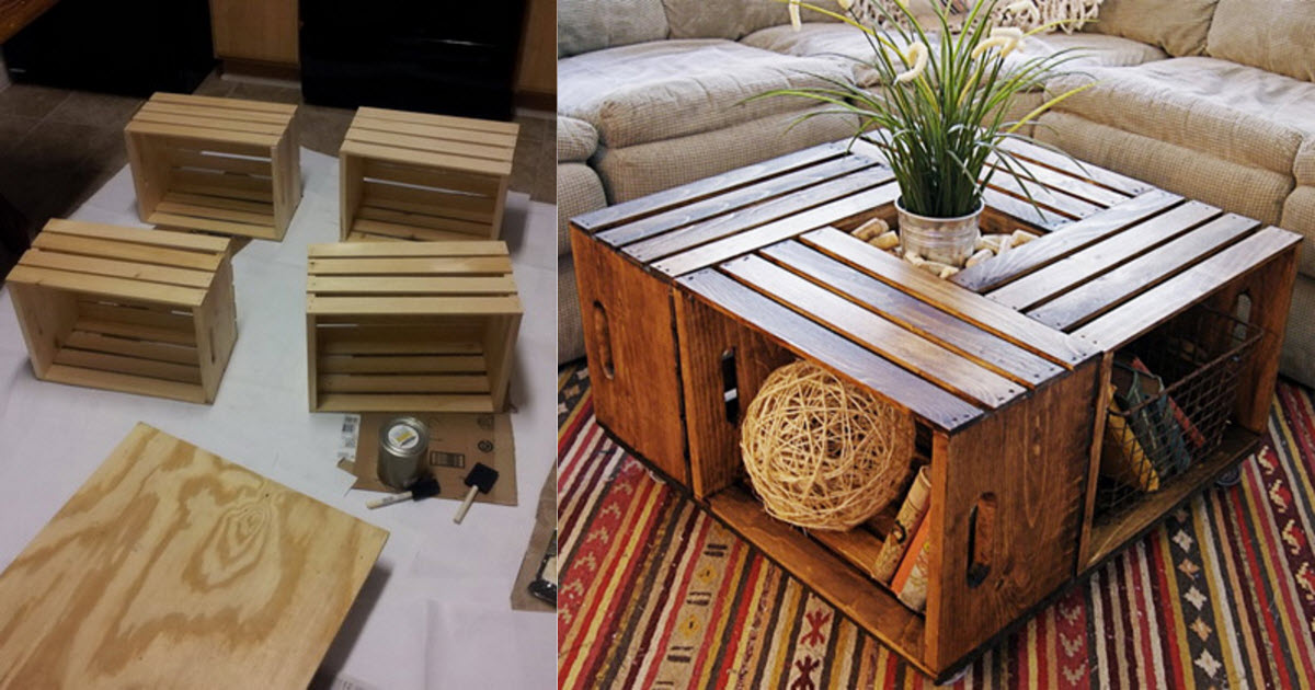 How to make your own beautiful and functional wine crate for Vintage wine crate coffee table