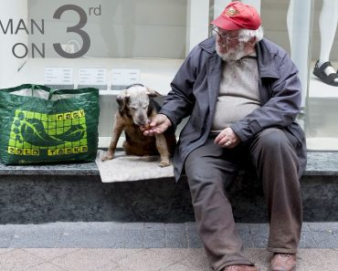 homeless man dog