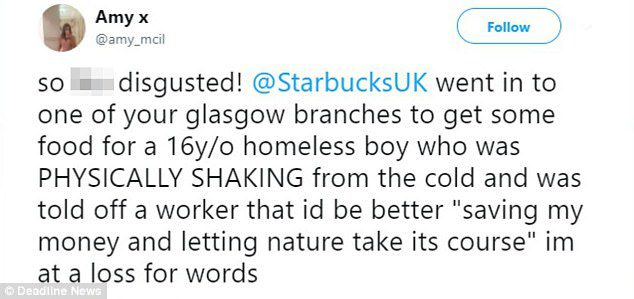 starbucks homeless man