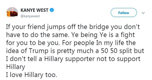 Kanye West twitter compliment