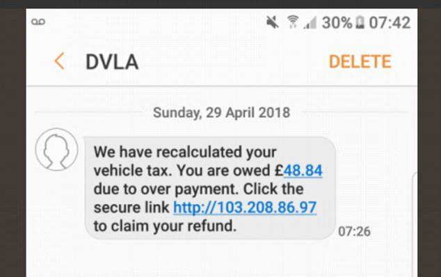 DVLA car text message scam