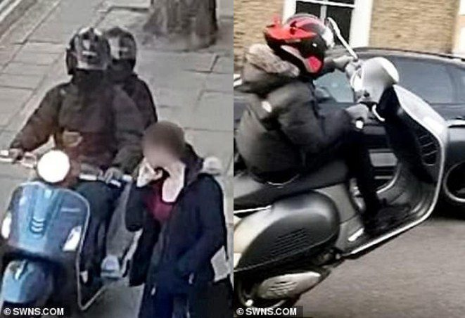 police knocking moped muggers