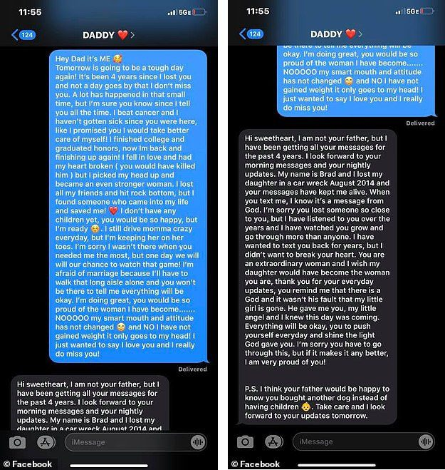 woman texts dead father